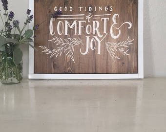 Wood Sign- Good Tidings of Comfort and Joy (CNC-Engraved)
