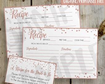 PRINTABLE Rose Gold Glitter Confetti Bridal Shower Recipe Card,  DIY Instant Download Recipe Card Digital File - Shower Invitation Enclosure