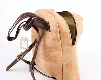Cork and leather backpack.