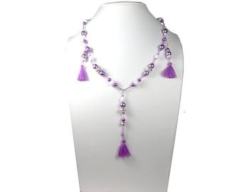 Set necklace earrings white and purple, silver, brass, Czech glass tassels