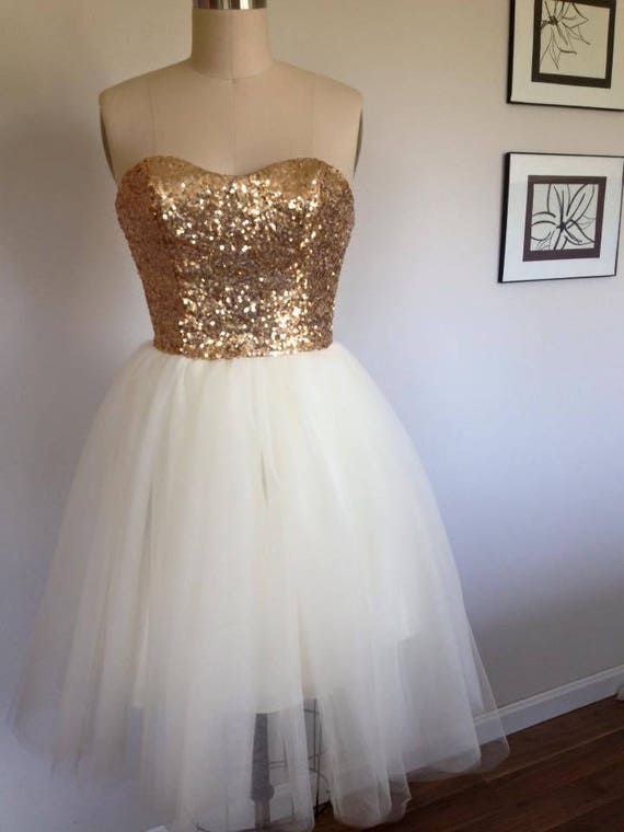Gold Sequin Wedding Gown, Tulle Skirt, Bridesmaid Dress, Reception Dress, Strapless, Prom