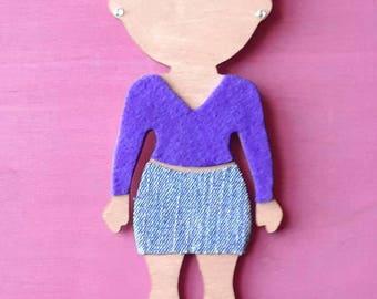 """Weekend Girl // OOAK // 10"""" Wood Doll Short Blonde Hair // Wall Art"""