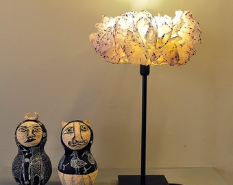 White & Purple Floor Table Lamp, Paper Lamp shade, Rustic Floor / Desk Light, Bedside Nightstand Purple Lamp