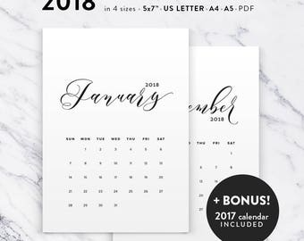 Printable Calendar 2018, Calligraphy Calendar Planner 2018 PDF, A4 UsLetter A5 Calendar Printable Wall Calendar Calligraphy Instant Download