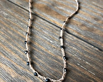 Crochet Beaded Boho Necklace •• Black beads with Hill Tribe silver pendant