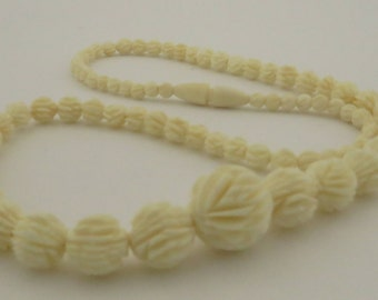"Vintage Intricate Detailed Hand Carved Dead Stock Graduated Carved Bone 18"" Necklace."