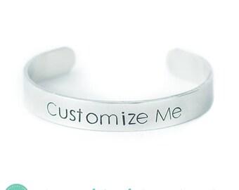 On Sale! Personalized Bracelet Hand Stamped Inspirational Quote Mantra Bracelet Skinny Narrow Silver Aluminum Bracelet Cuff