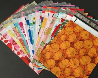 100 YOU CHOOSE Assorted Designer Poly Mailers 10x13 Anchors Peacock Pineapple Cupcake Balloon Flags Pumpkins Flowers Envelopes Shipping Bags