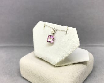 14k White Gold Natural Pink Sapphire (0.85 ct) Pendant with Chain, Appraised 1,050 CAD