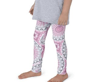 Girls Boho Leggings, Pink and Gray Yoga Pants for Kids, Children's Leggings