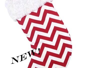 Red Zig Zag Christmas Stocking