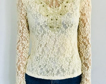 Korean lace Victorian style cream top