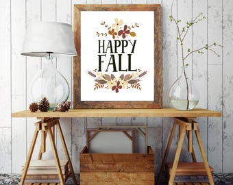 Happy Fall PRINTABLE, Fall Print, Autumn Decor, Fall Decor, Fall Decorations, Fall Signs, Wreath, Wall Art, Ideas, Rustic Fall, Farmhouse,