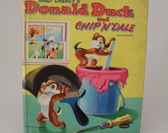 Vintage 1954 Collectable Walt Disney's Donald Duck And Chip'N'Dale Book - Jenny Wren Books - Juvenile Productions - 1950s Children's Book