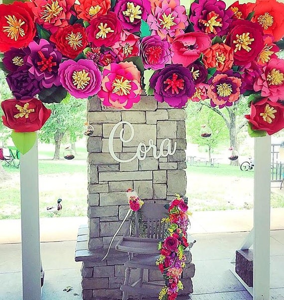Paper Flower Wall Template: Paper Flowers, Flower Backdrop, Giant Paper Flowers, Paper