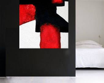 Abstract XXL Minimal Modern Art black & white red  extra large wall art canvas handpainted original minimalist art contemporary texture