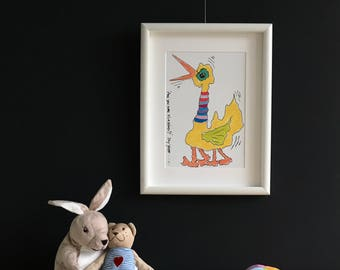 Limited Edition. Vogel. Vrolijke kleurenprint van marker tekening. 'Are you sure it's a bird?'