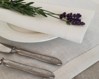 White Linen Placemat Set of 6 8 10 - Elegant Linen Placemats - Wedding Linen Placemats - Festive Table - Easter Placemats  - Christening