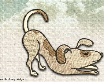 Yoga Dog in Uttana Shishosana embroidery design - downloadable - 2 sizes