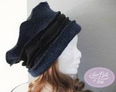 chapeau toque hiver femme bleu noir, bonnet en laine bouillie couleur jeans, cadeau pour elle