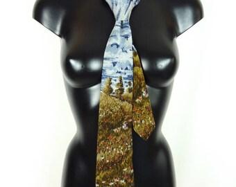 Cravate en soie PIERRE CARDIN 1980, motif paysage et coquelicots - VINTAGE 1980