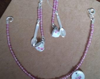 Pink Tea Set Bracelet and Earrings