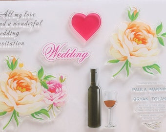 Wedding invitation silicone rubber stamp stamps card making scrap booking