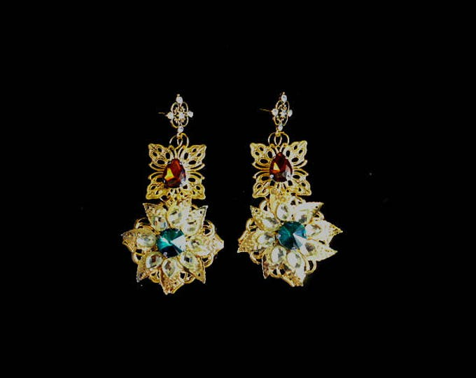 Dolce Gold Earrings Emerald Brown Sworovski Crystals wedding decoration long Sicilian Baroque tradition Bridal Gift for her bridesmaid