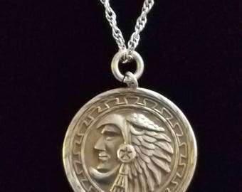 CP117 Sterling Silver Necklace with Aztec Warrioe Medallion Pendant