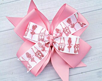 Ballet Hair Bow, Pink Dance Bows, Ballet Hair Accessories, Dancer Gifts, Pink and White Glitter Hair Bow, Ballerina Hair Clip, Bow for Girls