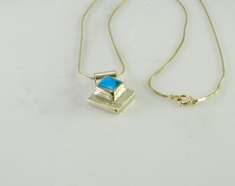 """Turquoise Sterling Pendant on a Sterling 18"""" Snake Chain"""