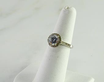 Clear Stone  Sterling Ring Size 6.5