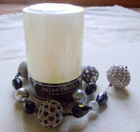 Silver tone beaded boho candle ring - gray glitz candle wraps - pillar- tin- table decoration --classic art- gray pearls - lizporiginals