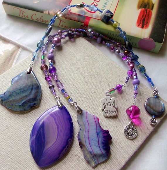 Purple free form blue agate bookmarks - reading accessory - hope - angel - peace charms - stripe gem stones - library - book lover gift