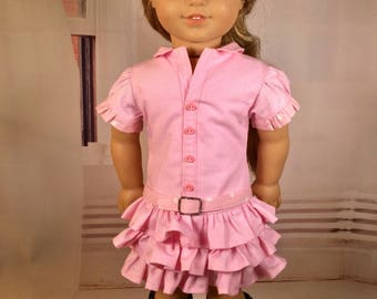 Girl doll dress, Country style dress, drop waist dress with ruffles, Western Hat & boots option, belt, Fits like American.Girl doll clothes