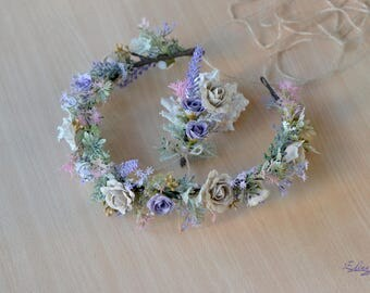 Wedding crown Lavender headpiece Rustic wedding wreath Purple cream wedding floral crown linen roses halo Bridal set crown boutonniere