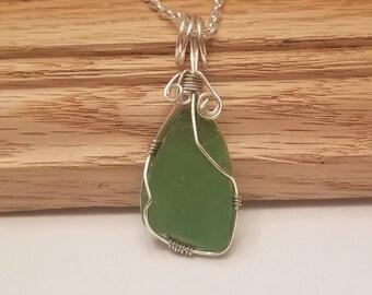 Wire wrap jewelry - green sea glass necklace