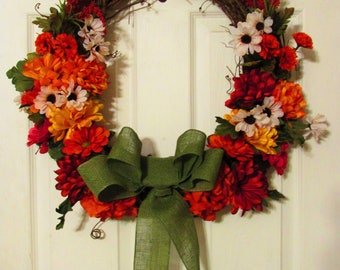 Clearance!!! | Thanksgiving Wreath | Fall wreath | Fall decor | autumn | Flowers | burlap | grapevine | bow | red, orange, yellow |