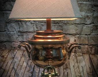 Vintage Copper Samovar Table Lamp