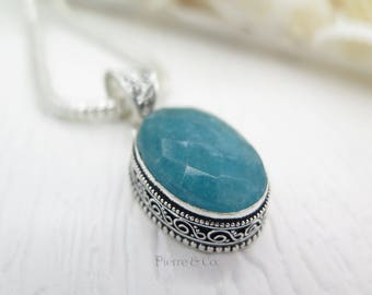 Antique Faceted Chalcedony Sterling Silver Pendant and Chain