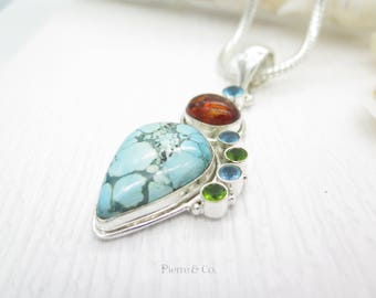 Tibetan Turquoise and Amber Sterling Silver Pendant and Chain