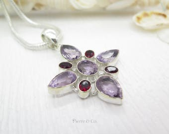 Pear Cut Amethyst and Garnet Sterling Silver Pendant and Chain