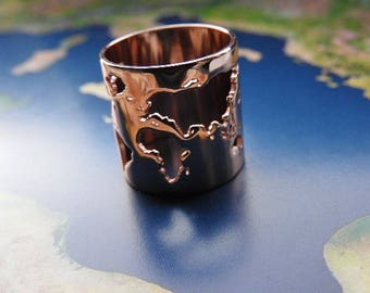 World map travel ring - rose colored - Wanderlust - travel gift - globetrotter - explore - adventure!