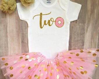 Second Birthday Donut Onesie®, 2nd Birthday Outfit, 2nd Birthday Onesie®, 2nd Birthday Girl Donut Onesie®, Donut Themed Birthday,Two Onesie®