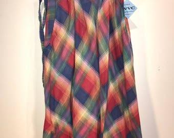 Vintage Cotton 70's Rainbow Plaid Wrap/Skirt