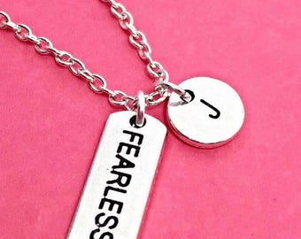 "Custom Pendant ""FEARLESS"" Necklace.Word Tag, Be Fearless Jewelry, Fearless Charm Pendant,Inspire Necklace,Motivational, fearless Friend Gift"