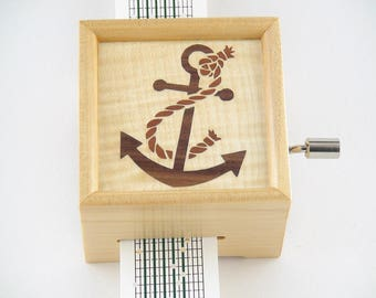 15 Note hand Crank Paper Strip Music Box with Marquetry Inlay, DIY your Own Tunes, Personalise or Customise Available