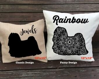 Personalized Maltese Pillow - Silhouette Pillow - Dog Pillow Cover - Burlap Pillow - Home Decor - Decorative Pillow - Dog Decor