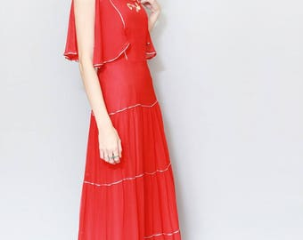 Vintage 1970's Vera Mont Red Tiered Maxi Dress