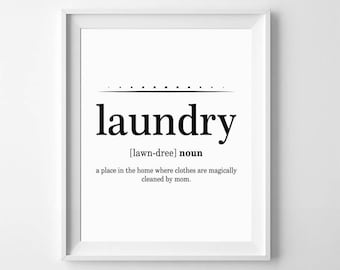 Funny Wall Print, Laundry Definition, Funny Bathroom Signs, Laundry Print, Bathroom  Wall